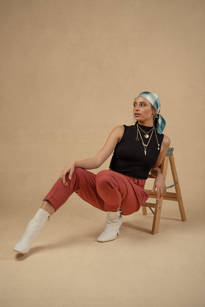 Zoe headscarf and white boots