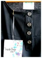 Vestido Ringo jersey negro. Detalle botones.