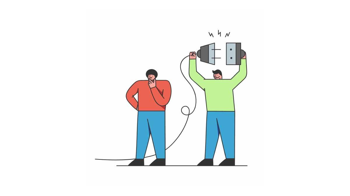 Ilustración colorista con un emprendedor pesimista por un problema en su página web y otra persona optimista que conect un enchufe gigante con la solución