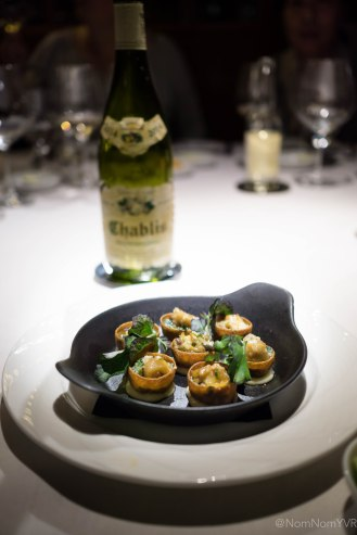 """Whelk - baked sea snails """"Rockefeller"""" style, spinach, watercress, anise shallot butter"""