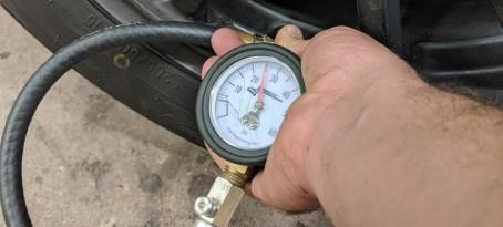 Tire Pressure Gauge on Spec Miata Racecar