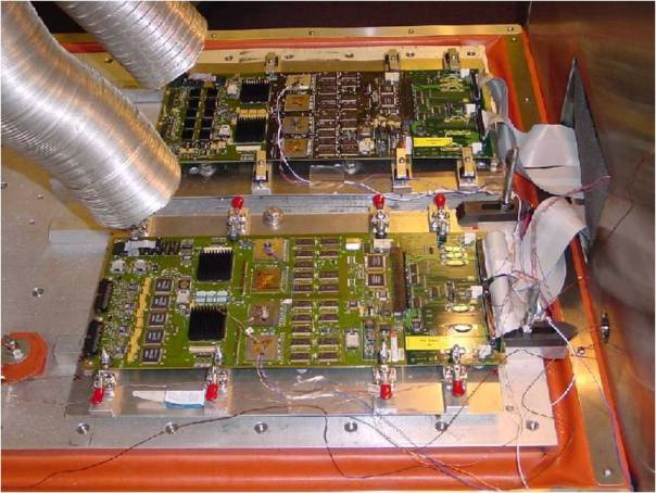 Two circuit boards in a HALT chamber
