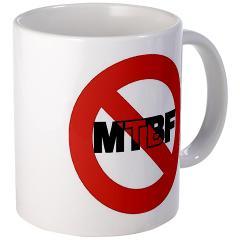 White ceramic mug with NoMTBF logo