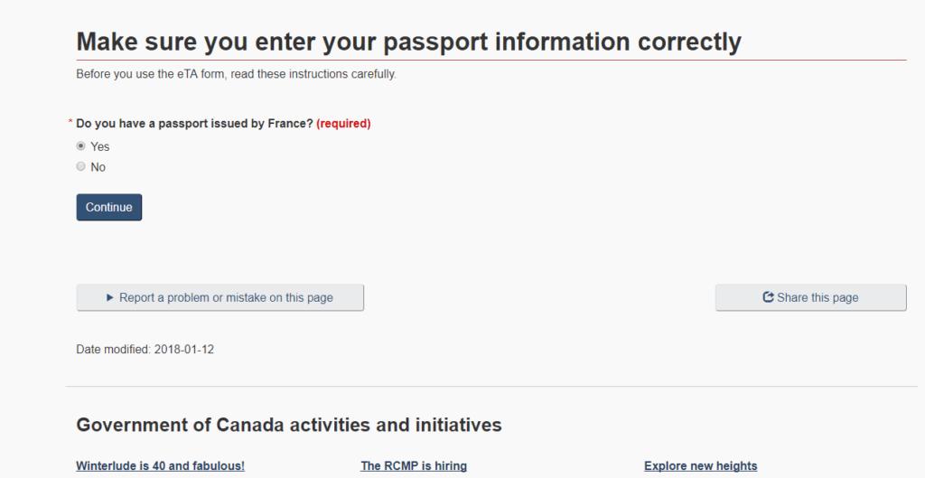 Autorização Eletrônica de viagem para o Canadá