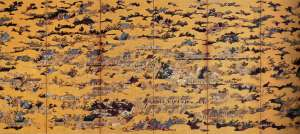 Eitoku Kanou / Folding Screens of Scenes In and Around Kyoto (left panel)