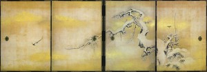 Tanyuu Kanou / Plum, Bamboo Trees and Birds in Snow