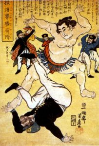 Yokohama-e / Artist: Yoshifuji Utagawa / Title: Sumo Wrestler Throwing a Foreigner at Yokohama