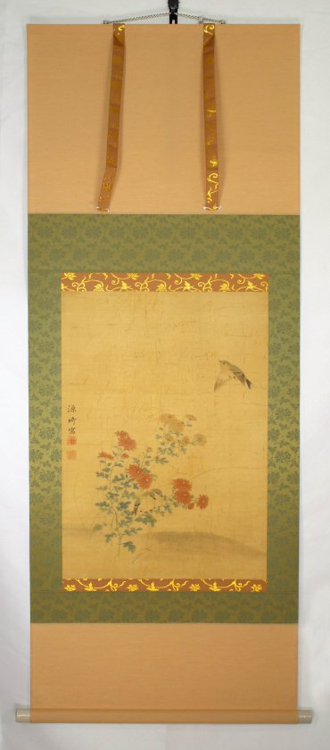 restoration kakejiku hanging scroll painting Japanese Germany damaged remount