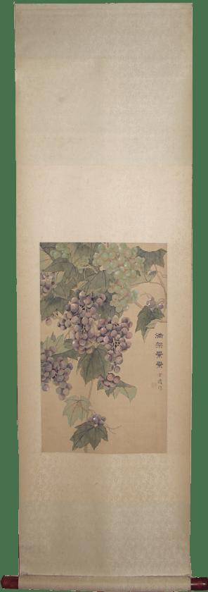 中国のお土産 掛軸 葡萄