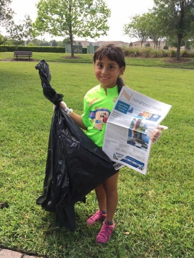 Even the kids learn about community clean-up