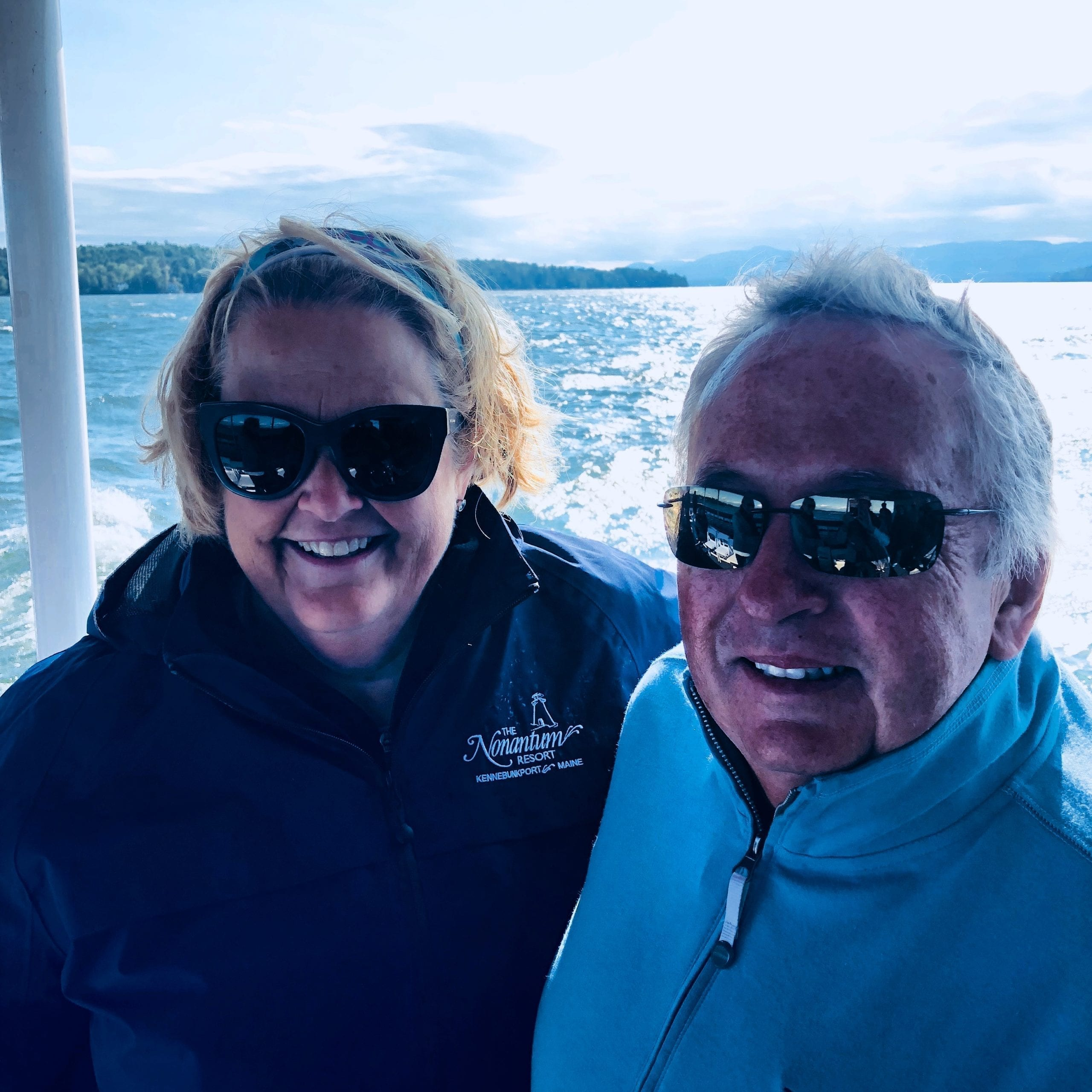 Jean and Bob on a boat ride.