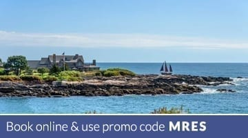 Distant view of Nonatum Resort and Kennebunk River. Text: Book online & use promo code MRES.