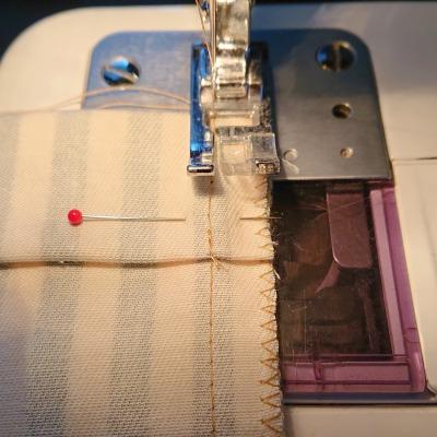 縫い目の真上を縫う
