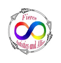 A black circle, Inside, a rainbow infinity loop and the words Fierce Autistics and Allies, in red