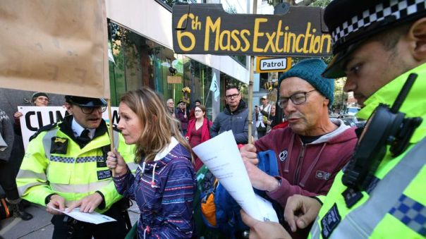 Police outside of the Department for Environment, Food and Rural Affairs, Marsham Street, during an Extinction Rebellion (XR) protest in Westminster, London.