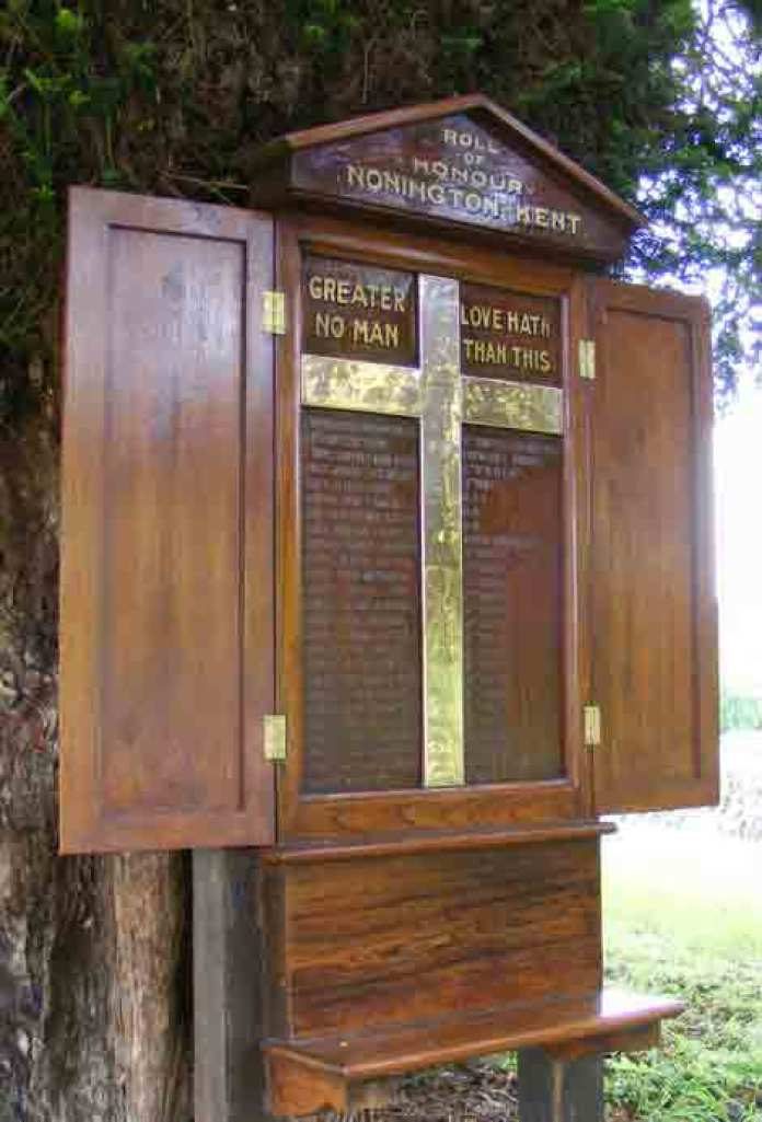 There is a memorial in the yew tree by the church yard entrance
