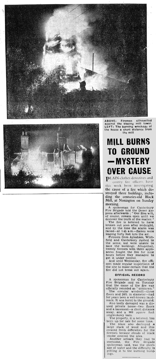 Mill Fire Dover Express 1965