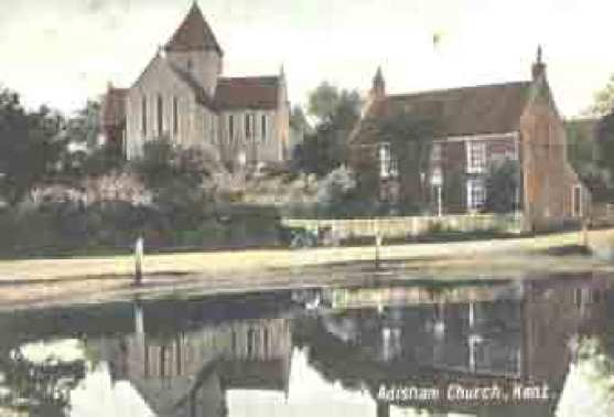 Adisham Church with the pond in front, circa 1900