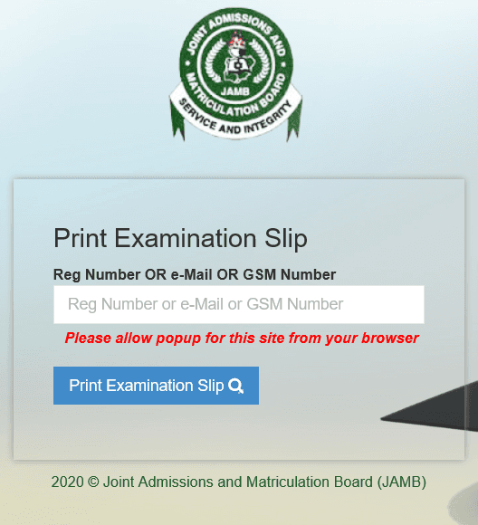 JAMB 2020 Exam Slip Reprinting Begins