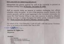 Notice On UNICAL Christmas break