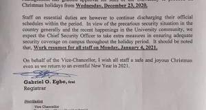 Notice On UNICAL Christmas break