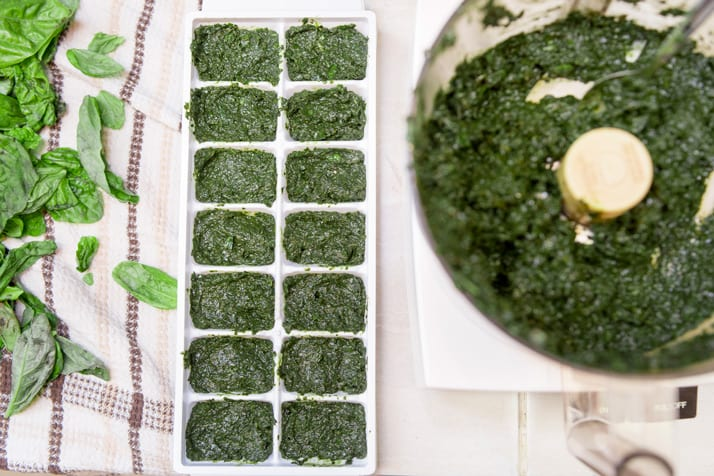 basil and olive oil in ice cube trays for freezing