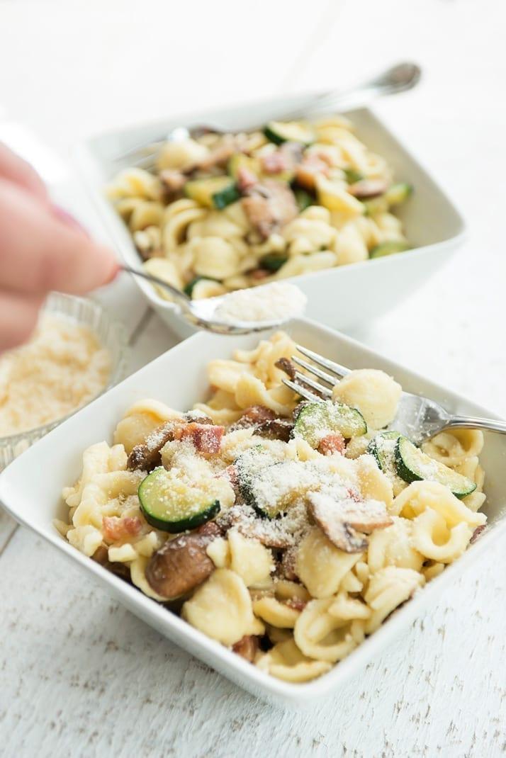 orecchietti pasta with pancetta, zucchini and mushrooms