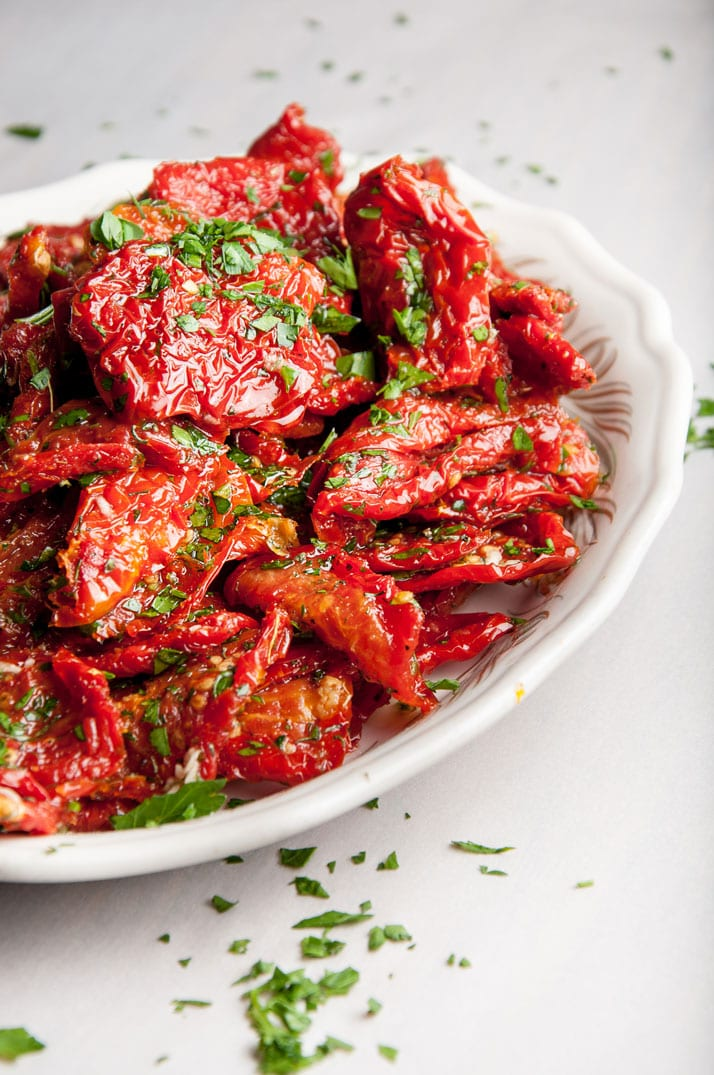 homemade sundried tomatoes dressed with olive oil, parsley, oregano, pepper, and garlic