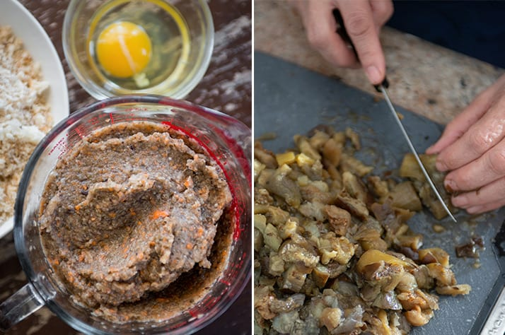 two ways of preparing the egpplant, carrots, onions, and celery for italian meatloaf