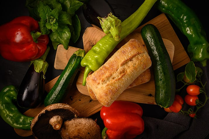 fresh vegetables to be grilled for panini
