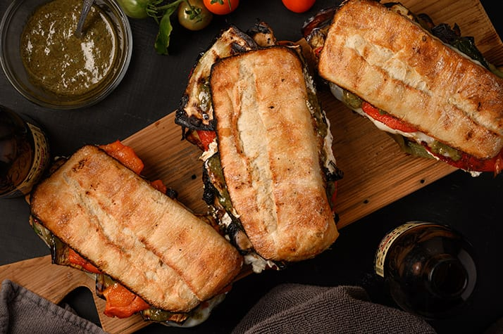 overhead image of grilled vegetable paninis