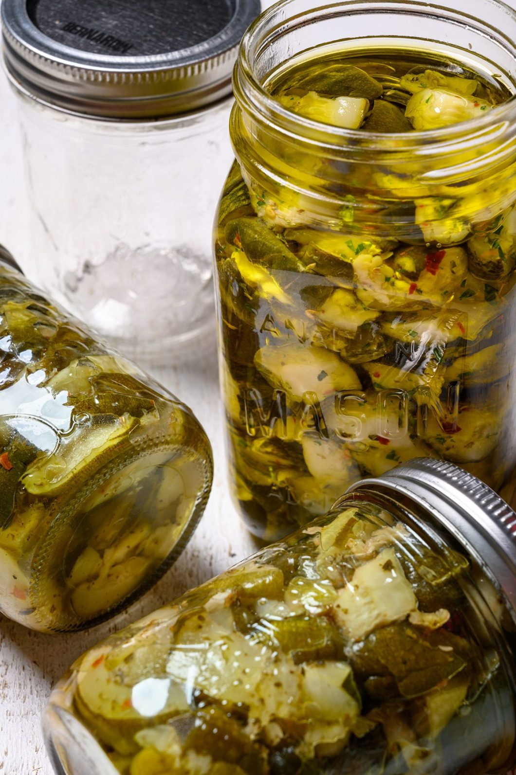 jars of pickled zucchini