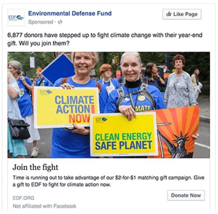 Environmental Defense Fund Facebook Advertising