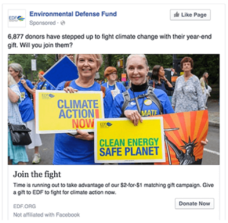 Environmental Defense Fund Facebook Advertising
