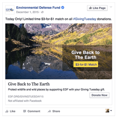 Environmental Defense Fund Giving Tuesday Facebook Ad