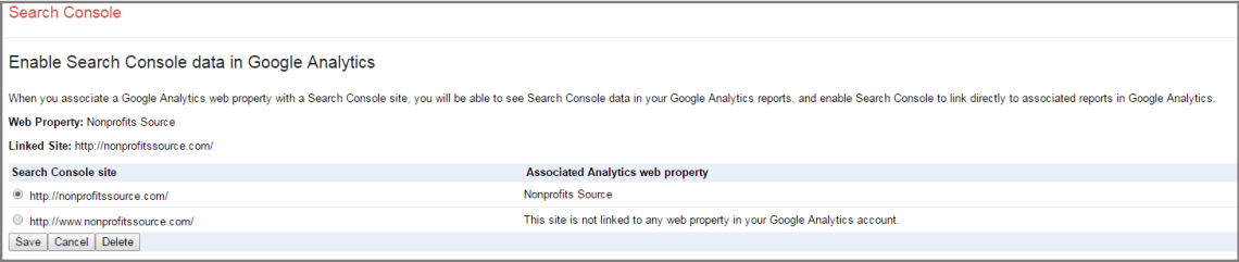 connecting google search console with analytics