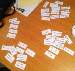 A table covered with four groups of notecards