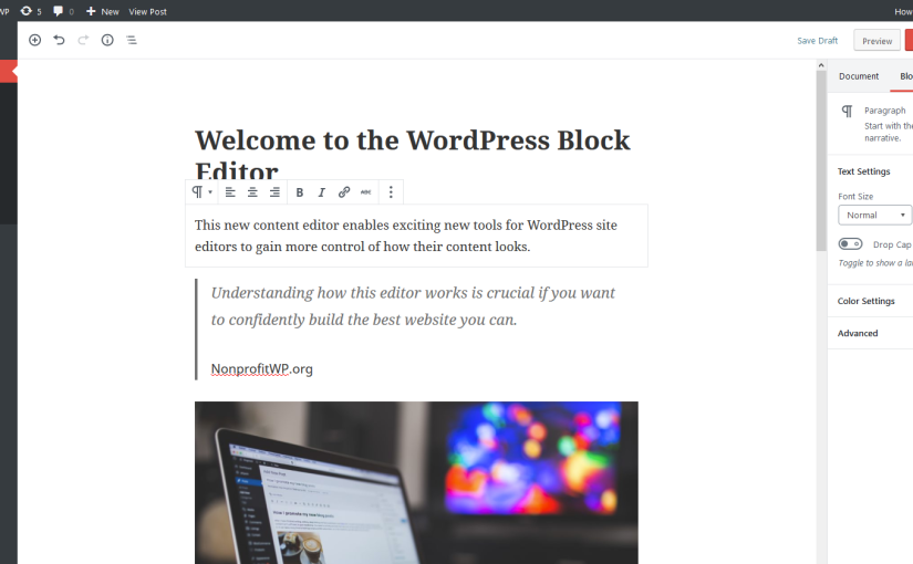 Example of a post showing the new WordPress block editor