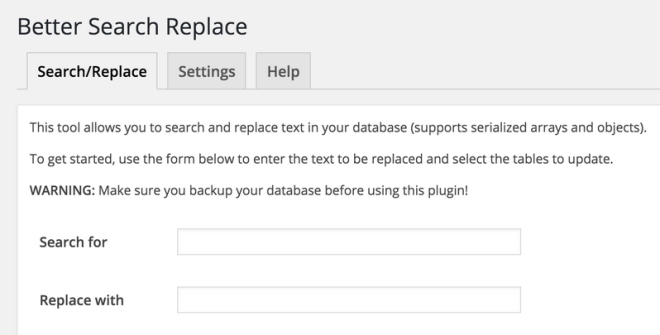 """Details from the Better Search Replace page showing """"Search for"""" and """"Replace with"""" fields"""