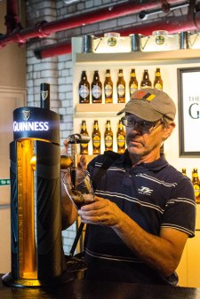 Paul learning how to pour a Guinness
