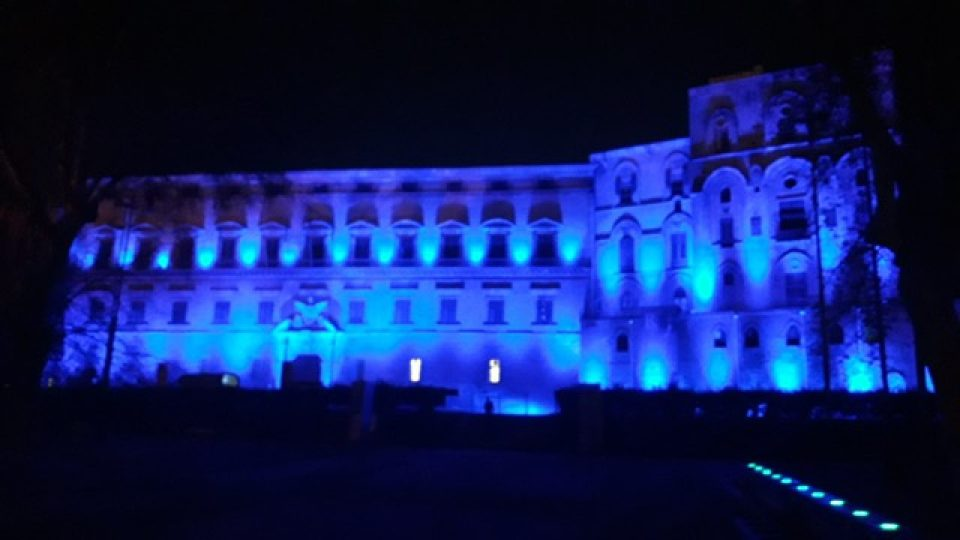Autismo, Palermo: Palazzo Reale illuminato di Blu