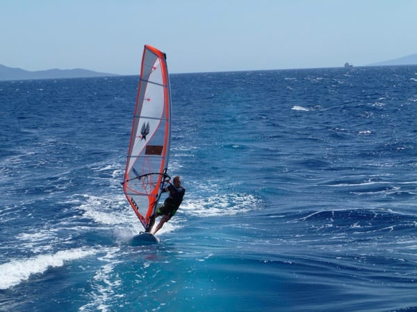 Jim windsurfing