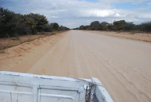 Sul retro di un furgone diretto verso il Kalahari