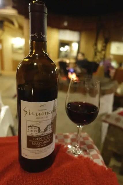 Marzemino vino in rifugio