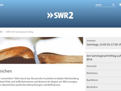Sabato 16.02, ore 14:25: Radio‐intervista su SWR2