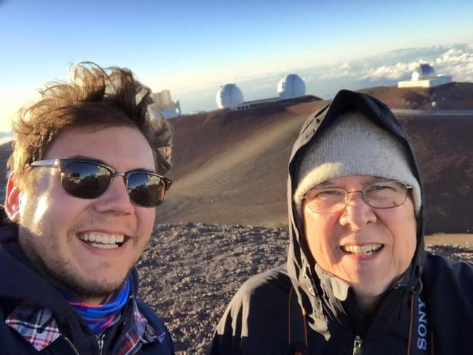 Gatien and Patrice on top of the Mona Kea to see the Keck Space Observatory under the clearest of skies.