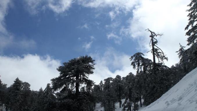 Βαριά χιονόπτωση στο Τρόοδος, έκλεισαν δρόμοι