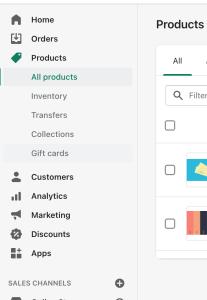 Shopify Product Menu