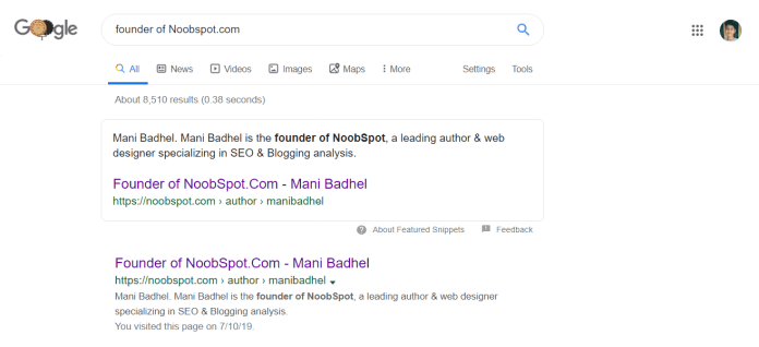 Founder of NoobSpot - Example Image