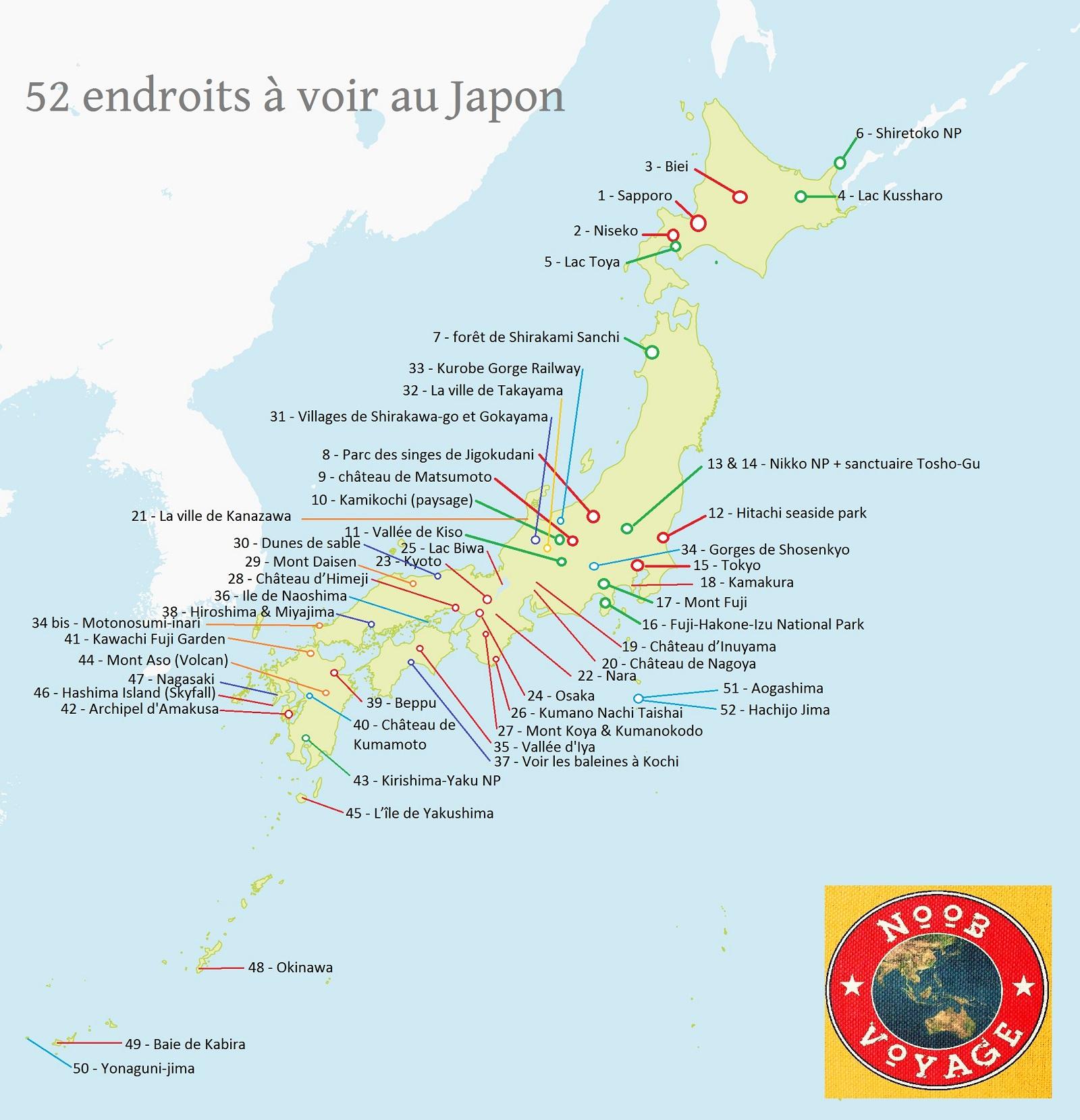 Carte du Japon détaillée à imprimer | Noobvoyage.fr